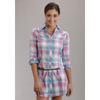 Karman Roper Pink Mardi Gras Plaid Stetson Ladies Collection Shirt Dress 1157565444PI