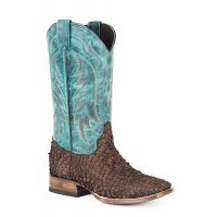 Karman Roper Brown/Turquoise Mens Square Toe Western Boots 1202088384009BR