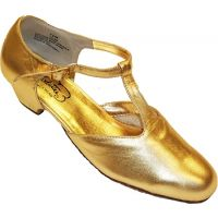 1369 GOLD Classic T-Strap 1inch Heel Womens Square Dance Shoes