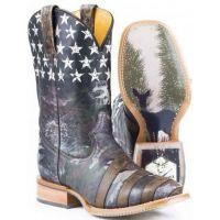 Hunter Pride Brown Square Toe Tin Haul Mens Western Cowboy Boots