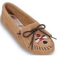 Tan Suede Thunderbird Beaded Softsole Minnetonka Moccasin Womens Shoes