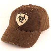 1582602 Brown Distressed Ariat Embroidered Ball Cap