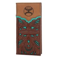 HOOey Brown & Turquoise with Floral Tooling Overlay Men's Rodeo Wallet/Check Book 1779137W8