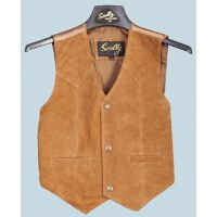 2002 Brown Boar Suede Snap Front Western Scully Kids Vests
