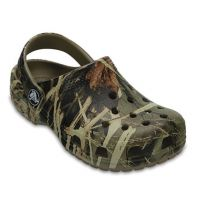 Crocs Khaki Camo Classic Realtree Kids Slide On Clog Shoes 204624