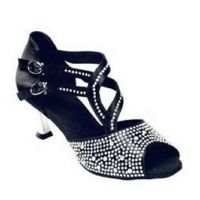 2090-15 Black with Crystal Accent Womens Ballroom Dance Shoes