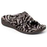 Vionic Dark Grey Zebra Relax Comfort Womens Slippers 26RELAX-DKGZEB