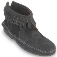 289 Black Suede Hardsole Fringe Minnetonka Moccasin Womens Boots
