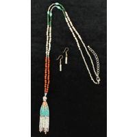 30782 Beaded Fringe Blazin Roxx Women's Necklace and Earrings Set