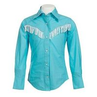 Turquoise With White Fringe & Rhinestones Long Sleeve Western Shirt