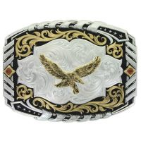 Montana Silversmith Two Tone Cantle Roll Buckle with Soaring Eagle 34800-696