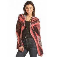 Rock & Roll Cowgirl Red Long Sleeve Aztec Womens Stripe Cardigan 46-2898