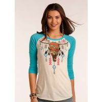 Panhandle Slim Bright Aztec Steer Head Raglan Juniors Shirt 48T2102