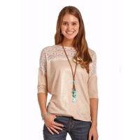Panhandle Slim Rose Gold Drop Shoulder 3/4 Sleeve Juniors Top 48T4397