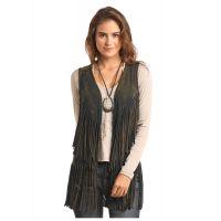 Panhandle Slim Brown Double Fringe Womens Vest 49V6746