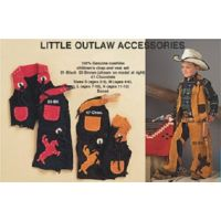 50830-01/02 Little Outlaw Cowhide M& F Kids Chap and Vest Sets