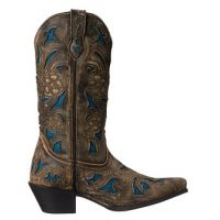 52047 Brown/Turquoise SHARONA Ladies Danpost Western Boots