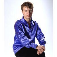 524 Adult Satin Long Sleeve Shirt with Collar