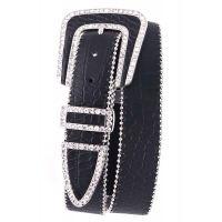 Black Rhinestone Studded Buckle Leather Womens Kamberley Group Belt