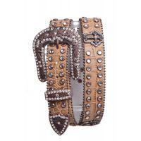 6055 Rhinestone Studded Cross Leather Kamberley Group Womens Belt