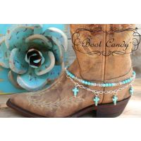 Boot Candy Natural Turquoise Crosses with Chain 608133