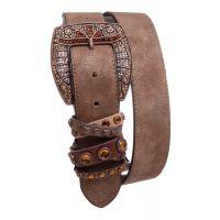 Kamberley Brown Rhinestone Studded Leather Womens Belt 6086-Brn