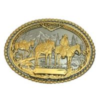 Montana Silversmiths Silver/Gold Pack Horses and RiderTwo Tone Attitude Mens Belt Buckle 61333P