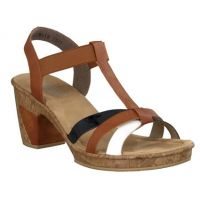 Rieker Tan/Black/White Womens Sandal 69790-80
