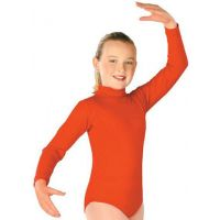 705A Long Sleeve Nylon Turtleneck Leotard With Zipper Back