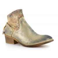 Corkys Dazzling Gold Faux Leather Laser Cut Distressed Womens Ankle Boots 80-9508-GOLD