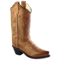 CF8229Y Tan Leather 8inch Scallop Shaft Snip Toe Jama Old West Youth Western Cowboy Boots