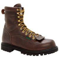 G8041 Brown 8 inch Waterproof Low Heel Logger Georgia Mens Work Boots
