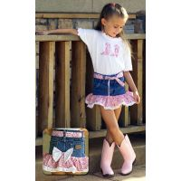 15 Pink Little Cowgirl Denim/Pink Bandana Skirt Sets