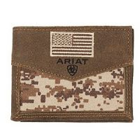Ariat Brown Patriot Digital Camo Flag Bifold Wallet A3536844