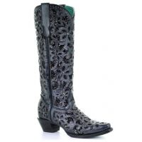 Corral Black Full Floral Inlay Snip Toe Womens Boots A3589