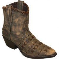 Abilene Distressed Brown Rawhide Hand Laced Womens Short Western Boots 5074