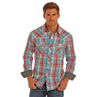 Rock and Roll by Panhandle Long Sleeve Blue and Red Plaid Shirt B2S1247