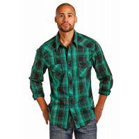 Panhandle Slim Green Plaid Mens Long Sleeve Snap Western Shirt B2S3155