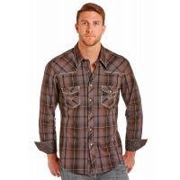 Cowboy Yarndye Poplin Plaid Mens Long Sleeve Snap Western Shirt