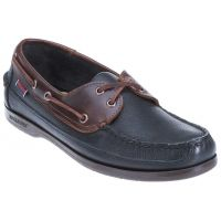Sebago Schooner Black/Brown Leather Slip-On Casual  Mens Shoes B759452
