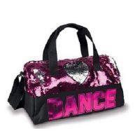 DansBags by Danshuz Pink Sequin Dance Heart Girls Duffle Bag B842