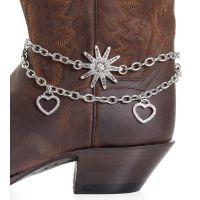 BA310 Silver Kamberley Women's Heart & Spur Rowel Boot Chain