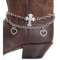 BA313 Silver Kamberley Womens Heart & Cross Boot Chain