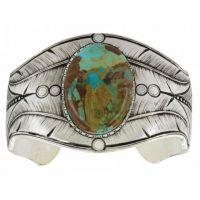 Montana Silversmith Antiqued Beaded Fletching Turquoise Cuff Bracelet BC3358