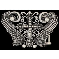 BK0011 Silver Wings and Crystals Ladies Belt Buckle