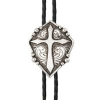 BOL120 Men's Andwest Antique Cross with Etching Bolo Ties