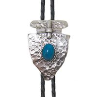 BOL136 Men's Andwest Hammered Arrowhead with Turquoise Bolo Ties