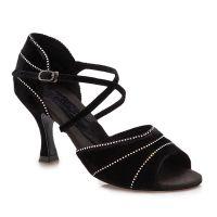 BR429R Crystal Evelyn 2.5in Heel Black Velvet