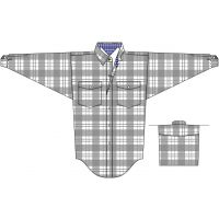 Panhandle Slim Grey Poplin Satin Plaid Boys Long Sleeve Shirt C0S4152