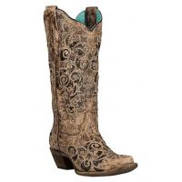 Corral Brown Glitter Inlay & Studs Womens Snip Toe Western Boots C3331
